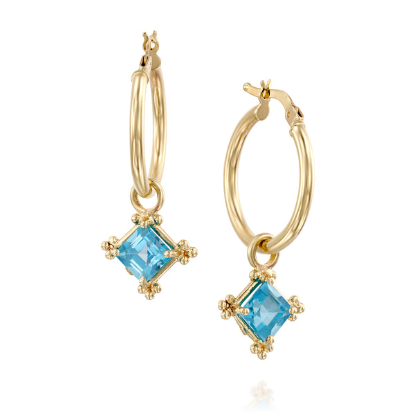 Dionysus hoops square blue-Topaz earrings