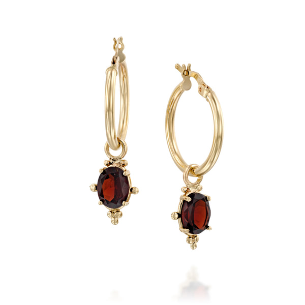 Dionysus gold hoops oval Garnet earrings