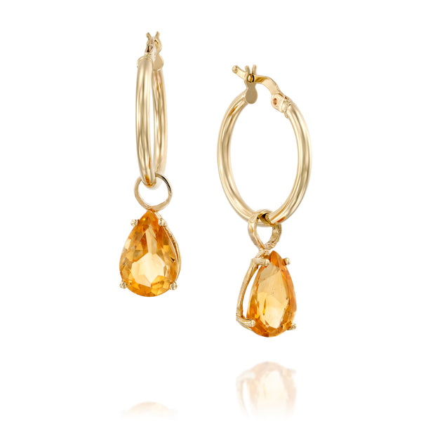 Drop shape natural citrine hoop earrings