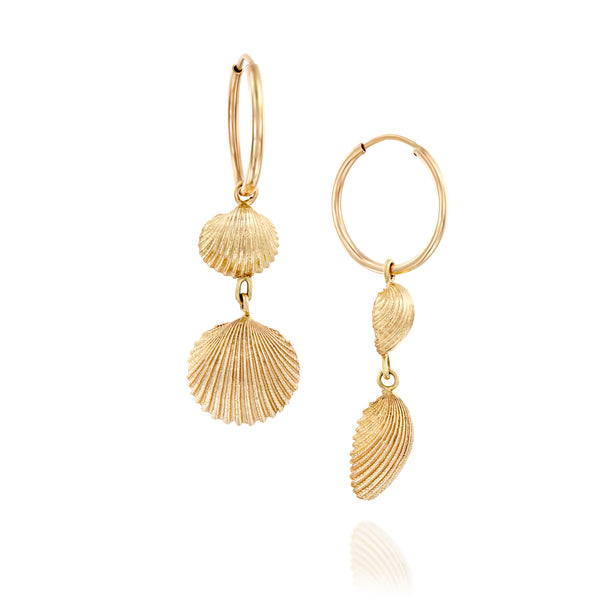 Ocean treasure gold hoops and gold shells