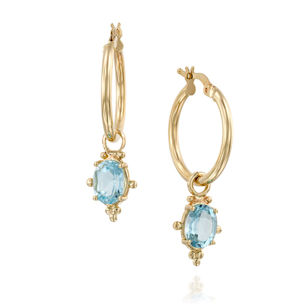 Dionysus gold hoops oval blue-Topaz earrings