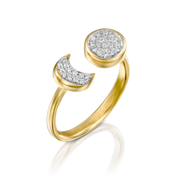 Cosmic sun & moon diamond open ring