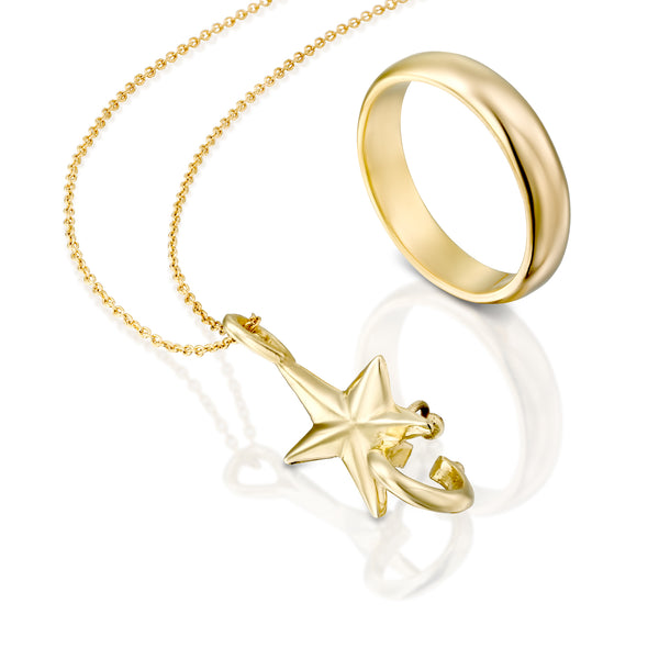 Gold star wedding ring holder pendant