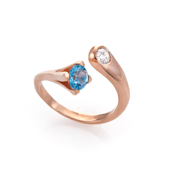 Crown Blue Topaz & diamond Hug ring