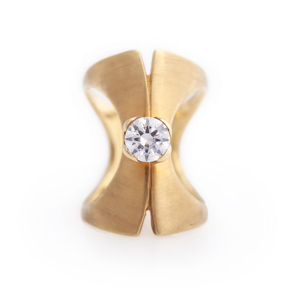 Solitaire two-way Corset Ring with white sapphire