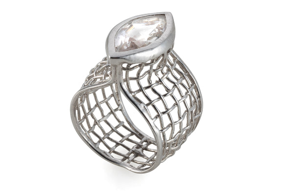 Rock Crystal eye shape woven white gold ring