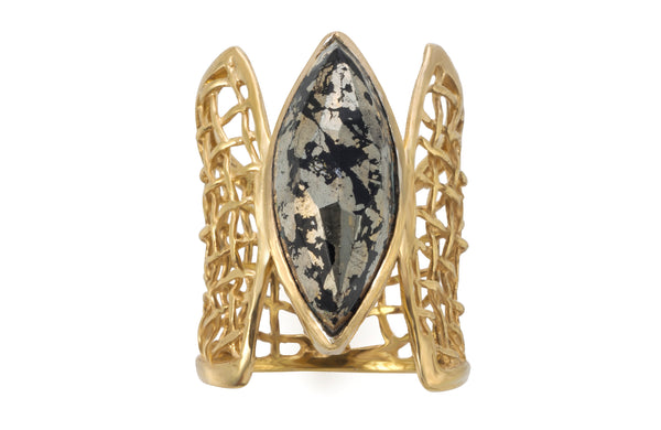 Pyrite Woven Gold Corset Ring