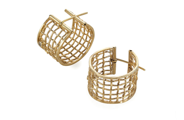 big woven gold Diamond earrings