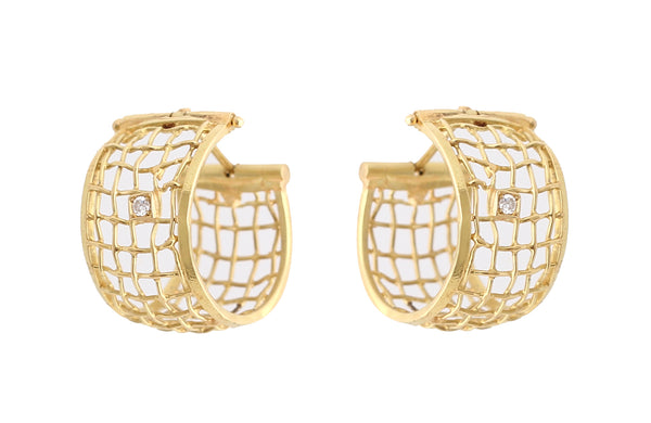 Woven gold and Diamond earrings