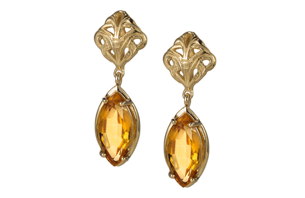 Swing sunlight yellow citrine dangle Earrings