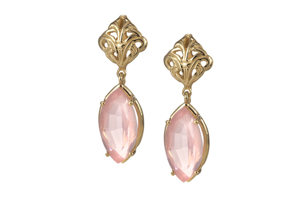 Swing pink Rose quartz eye shape earrings