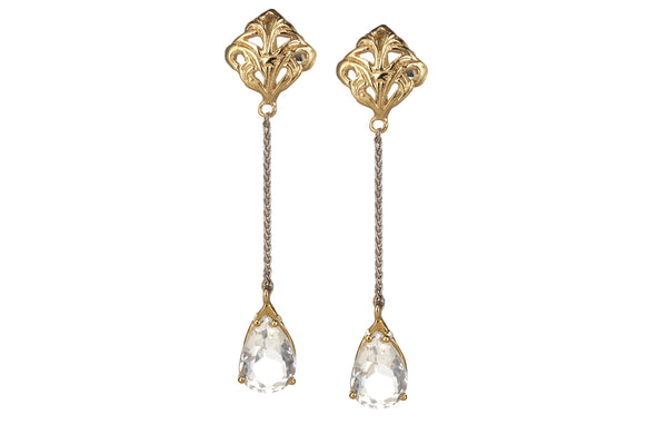 Swing Rock Crystal drop long earring