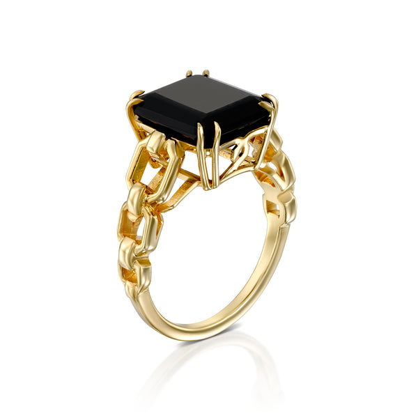 Bold link ring with black onyx
