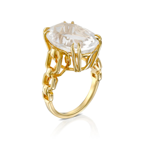 Rock Crystal oval link ring