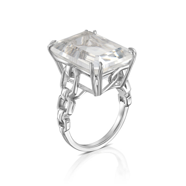 Rock Crystal link ring