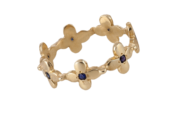 Primrose Eternity ring with blue Sapphire