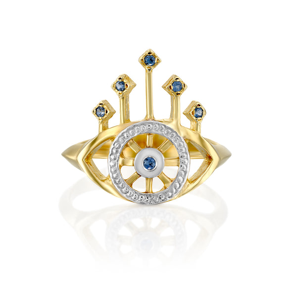 Queen's eye ring whith blue sapphire