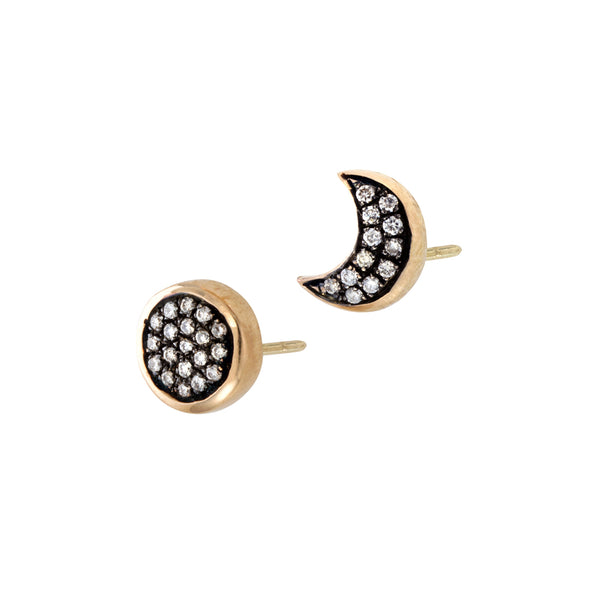 Empyrean  sun & moon diamond Stud Earrings