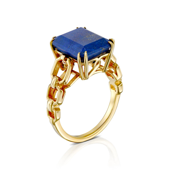 blue lapis gold link ring