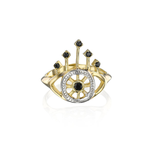 Queens eye ring with black Spinel