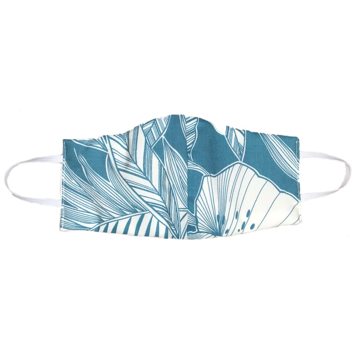 PROTECTIVE FACEMASK (TEAL LEAF x SOFT WHITE FLORAL)