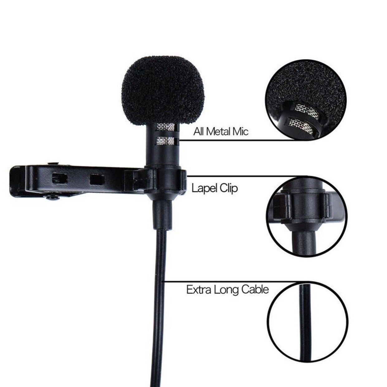 Affect Audio's® Professional Clip-on Lapel Omnidirectional Lavaliere Condenser Microphone