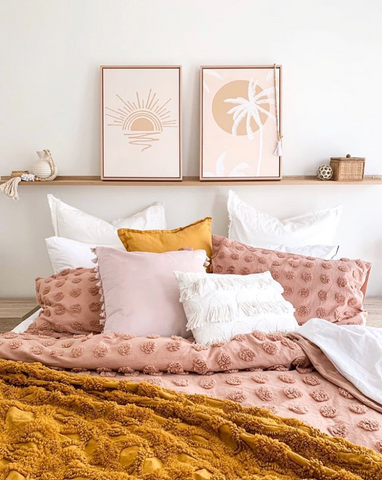 mustard blush pink bedroom neutral white calm
