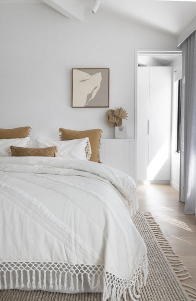 modern beachy coastal bedroom fresh white