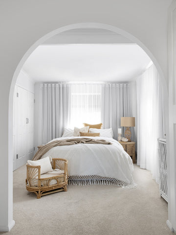 white neutral grey calm bedroom space