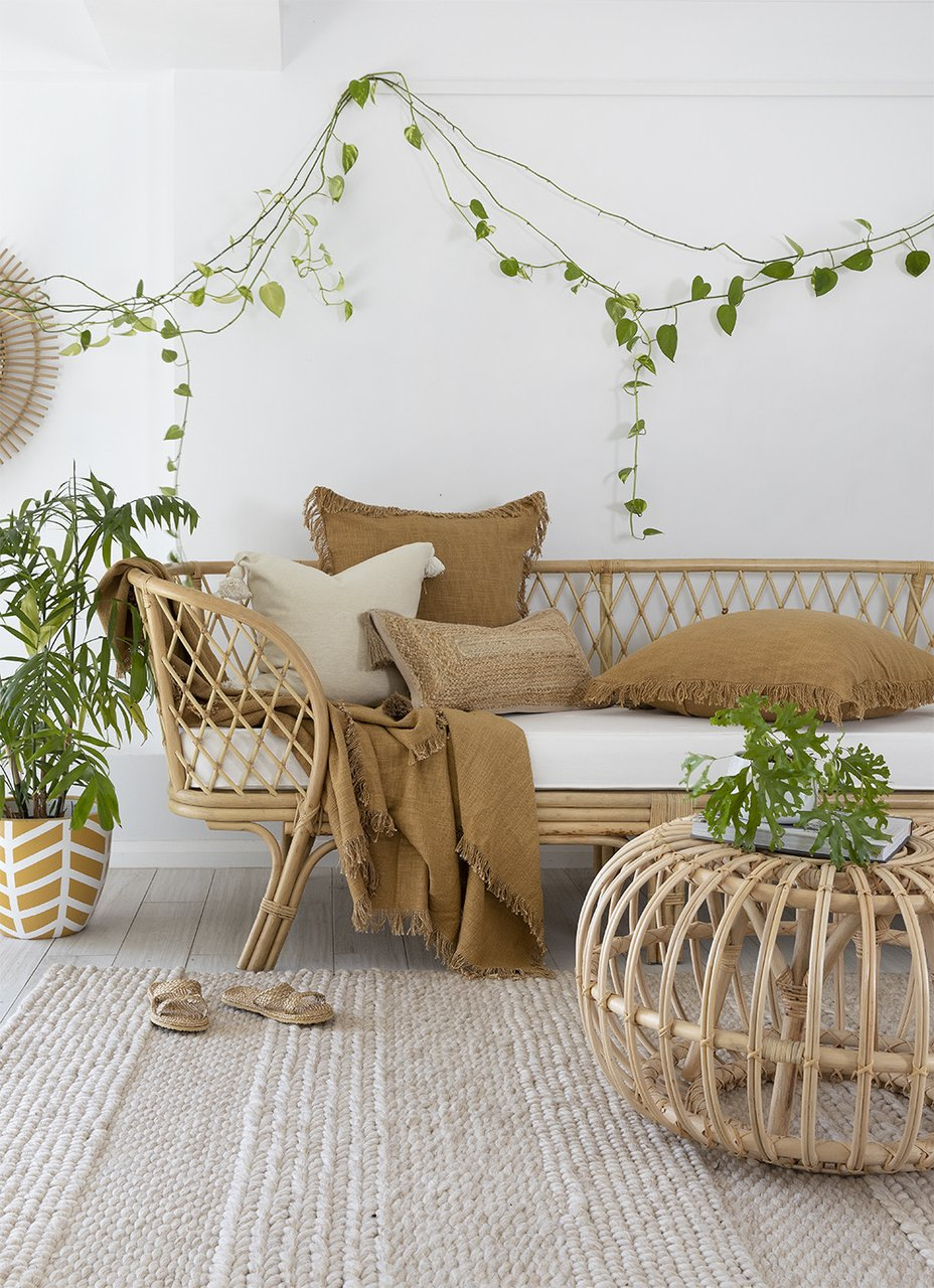 mustard throw blanket and cushions by sea tribe australia