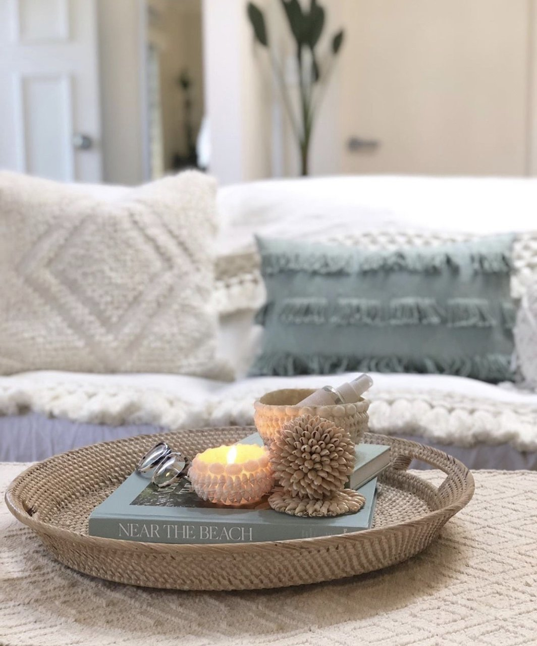 shell decor candle holder by sea tribe