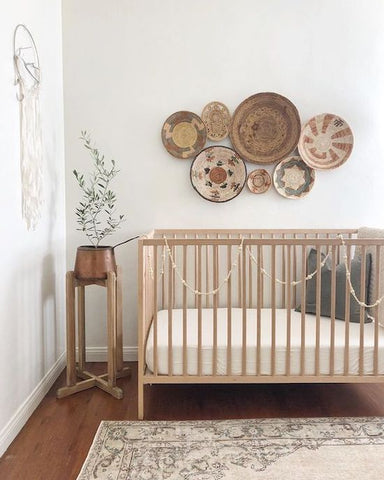 modern minimal boho baby nursery kids room earthy natural gender neutral