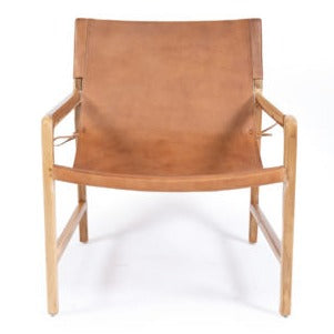 leather sling chair teak tan