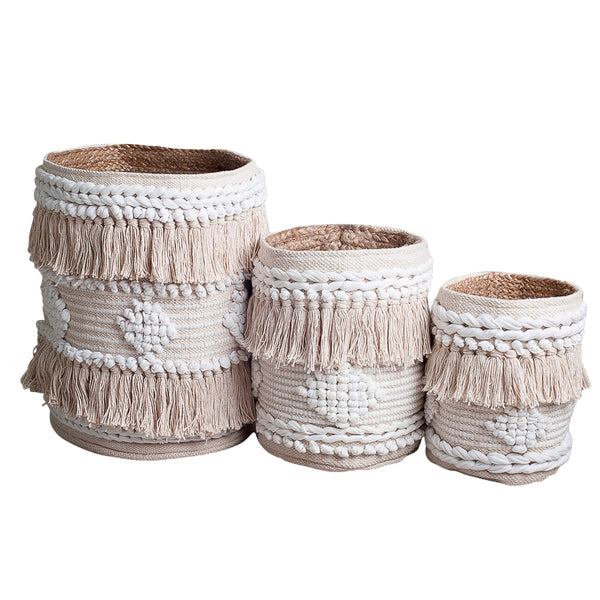 boho textured plant storage basket natural white fringing