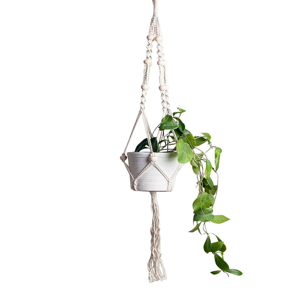 macrame plant holder hanging hanger beads