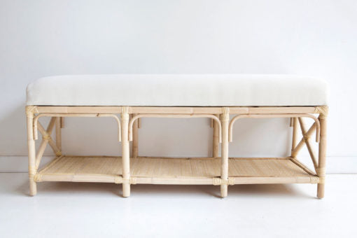 rattan bed end bench natural cane seat