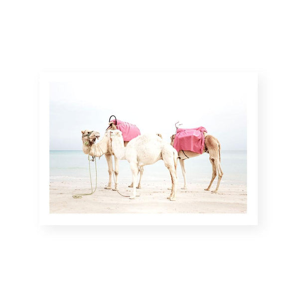 camel art print framed canvas wall art coastal eclectic bohemian