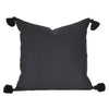 black tassel tassles pom pom solid plain cushion monochrome bohemian