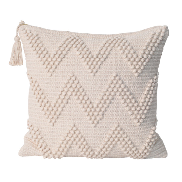 textured chevron zig zag ntural natural cushion pillow tassel patterned