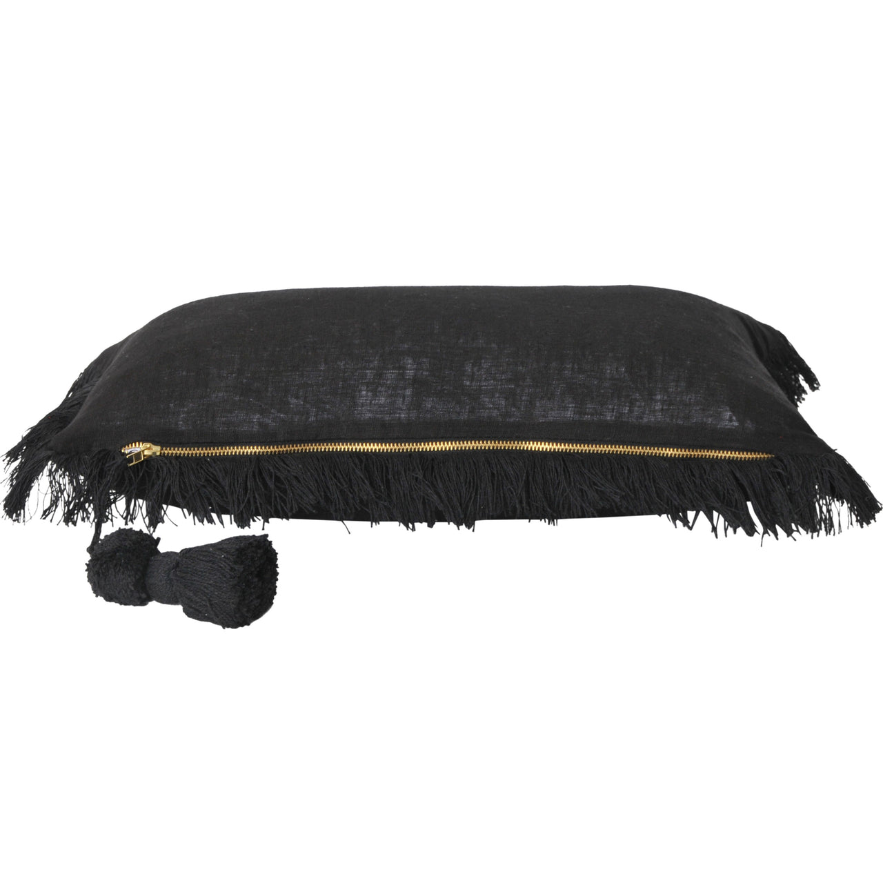 Lola Linen Lumbar Cushion- Black
