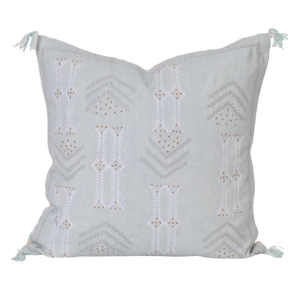 embroidered cactus silk seafoam light blue hamptons coastal pillow cushion boho bohemian