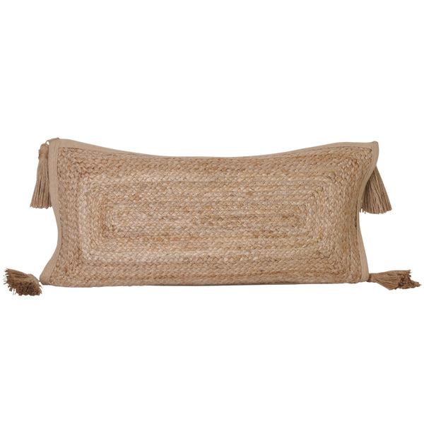 jute long lumbar rectangular rectangle cushion pillow tassels tassles