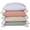 white peach oatmeal natural sage cushions pom poms tassels tassles plain solid pillow