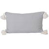 dove light grey lumbar rectangular rectangle pom pom tassels tassles cushion pillow contemporary coastal hamptons scandi boho