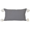charcoal dark grey lumbar rectangular rectangle cushion pillow coastal contemporary scandi boho pom pom tassels tassles