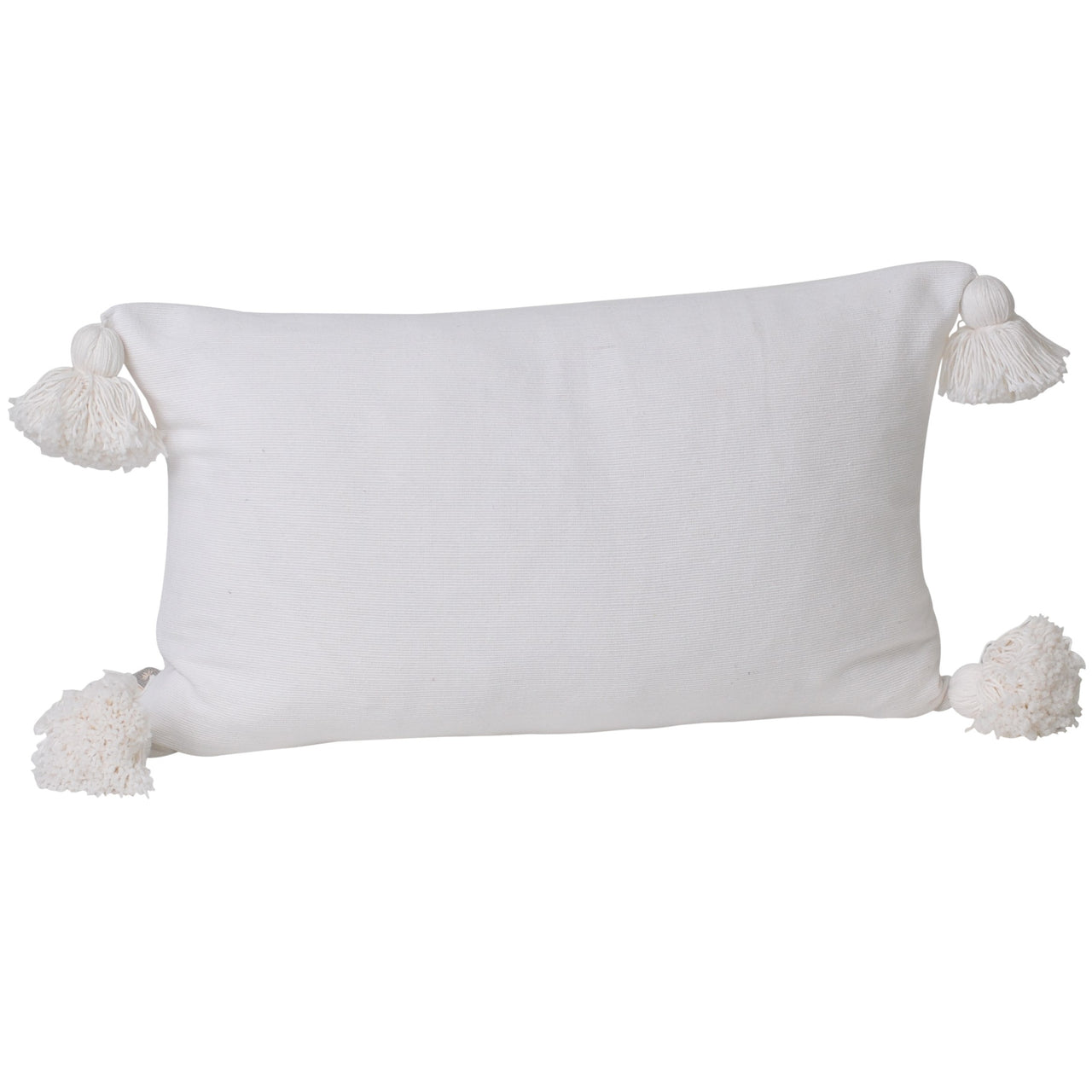 Soho Tassel Lumbar Cushion- White