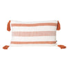rust stripe lumbar cushion pillow tassels tassles