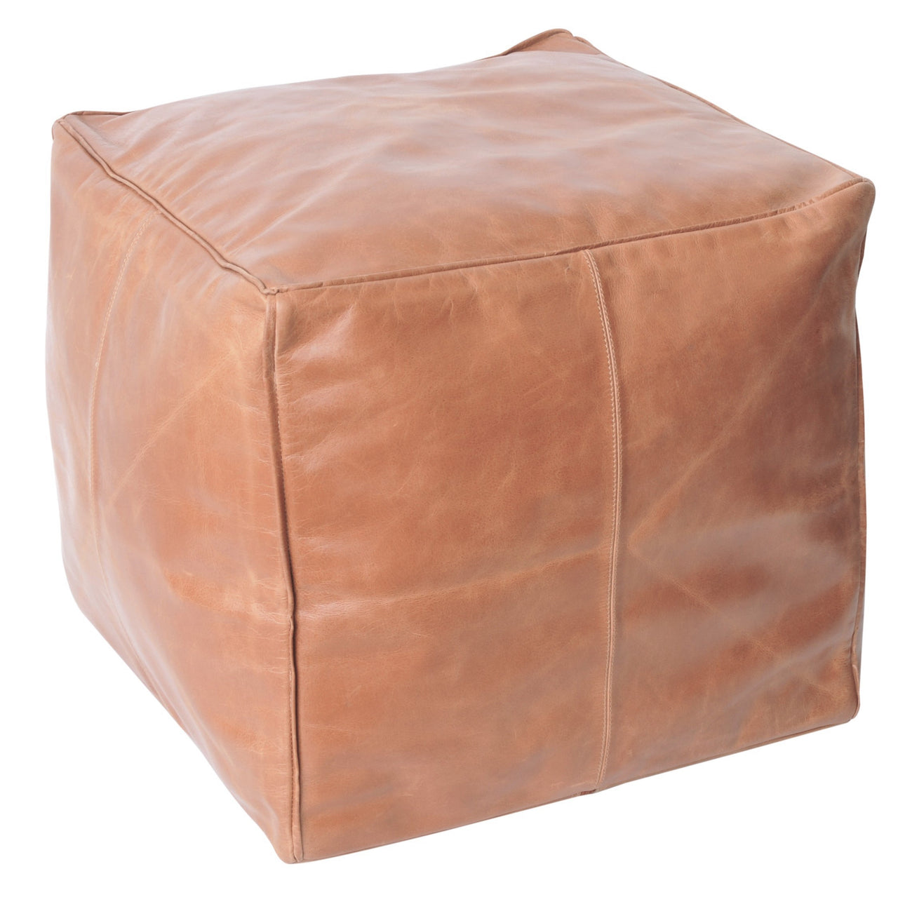 Axel Leather Ottoman- Tan