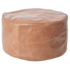 tan round leather ottoman pouf footstool