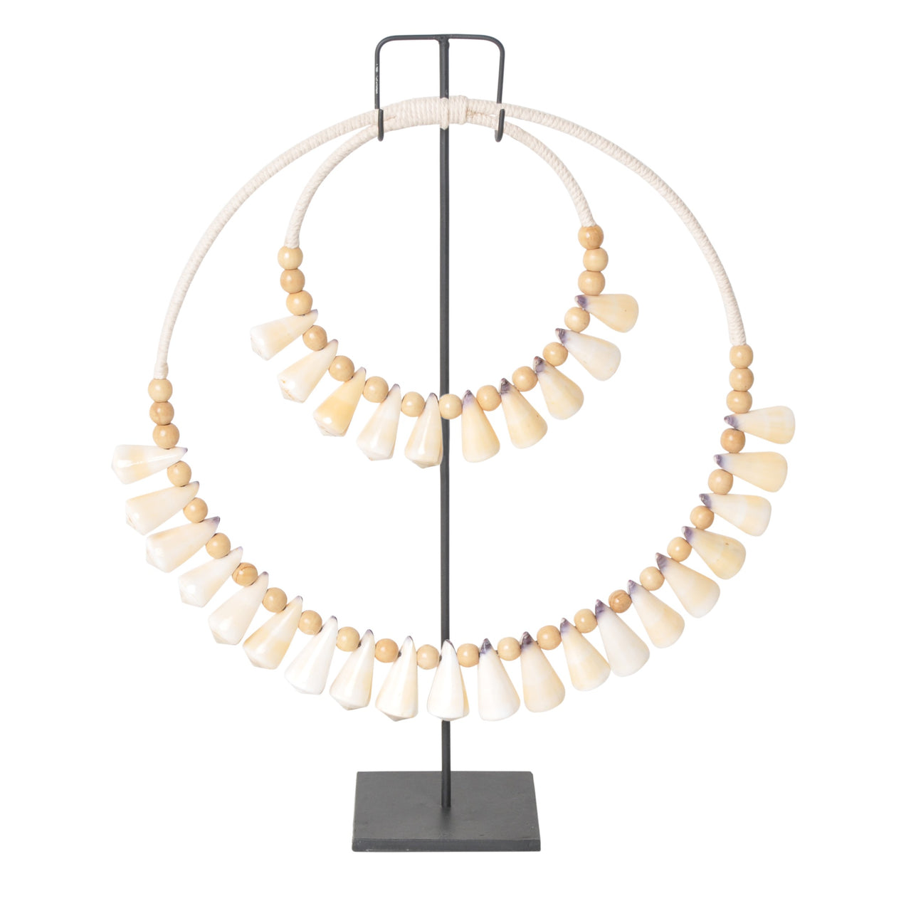 shell decor hoop necklace on stand